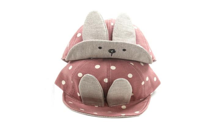 1829000f376 Spring Summer Autumn Cotton Long Rabbit Ears Dot Baby Hats