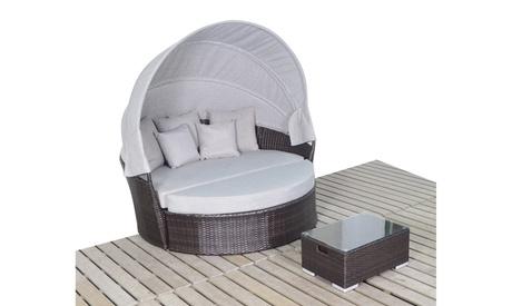 Patio Sofa Furniture Round Retractable Canopy Daybed Wicker Rattan