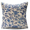 Vintage Oriental Blue Floral Cotton Linen Pillow Case Cushion Cover