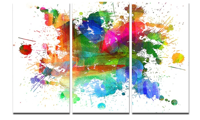 Splashes Of Colors Abstract Oil Painting Glossy Metal Wall