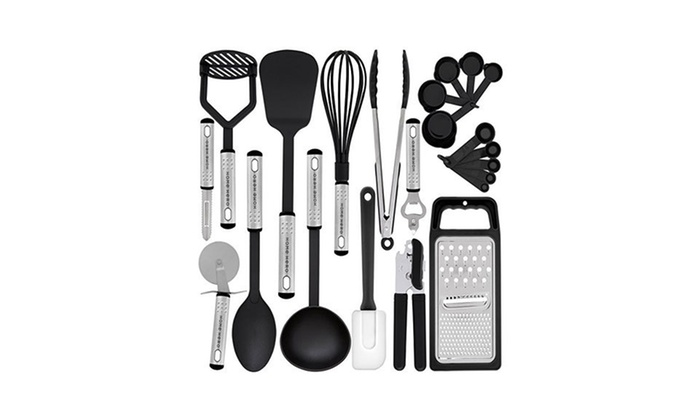 Nonstick Kitchen Utensils Spatula Set MAXXV Kitchen Utensil Set -42-Pieces Cooking Utensils Best Kitchen Gadgets for Gift Complete Cooking Tool set Nylon and Stainless Steel Utensil set