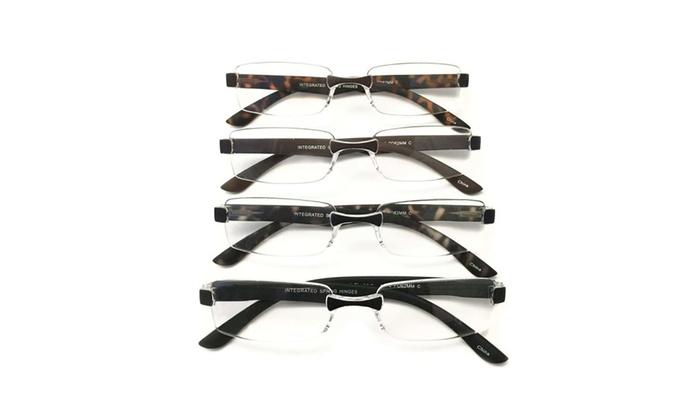 I.Image Men's Rimless 4-Pack Reading Glasses (+2.00)