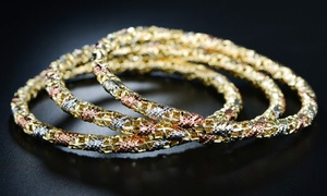 18K Tri-Gold Filigreed Lace Bangle Set