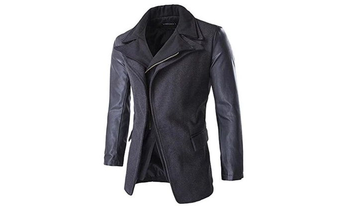 Men's Leather Sleeves Wool Slim Fit Trench Coat Jacket Outerwear Grey - Dark Grey / US S/36