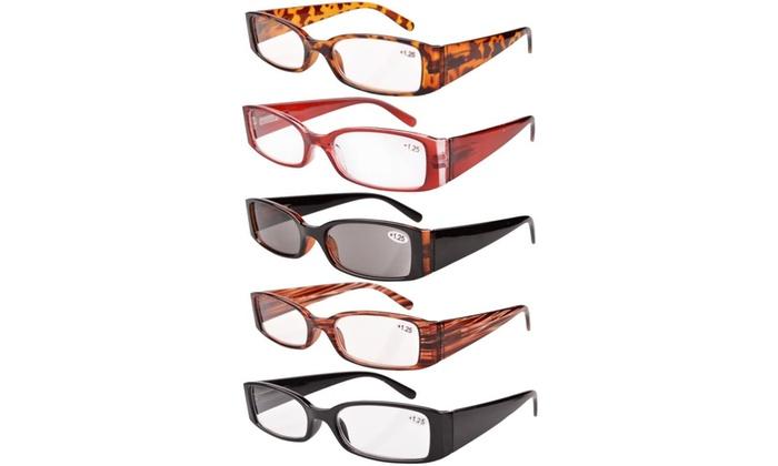 40cae01f1dff Eyekepper Reading Glasses Rectangular Frame Includes Sun Readers Women  5-pack