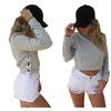Women Side Cross Lace Up Short Pullover Fleece Long Sleeve Sweatshirts