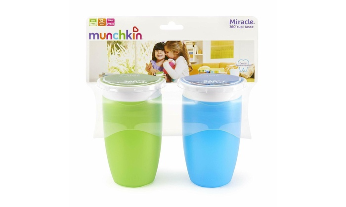 Munchkin Miracle 360 Sippy Cup 2 Count Orange//Pink 10 Ounce