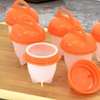 Silicone Egg Poacher Hard-Boiled Eggs Without the Shell Set (6-Piece)