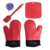 Silicone Oven Gloves Pair, Placemat & Spatula Set