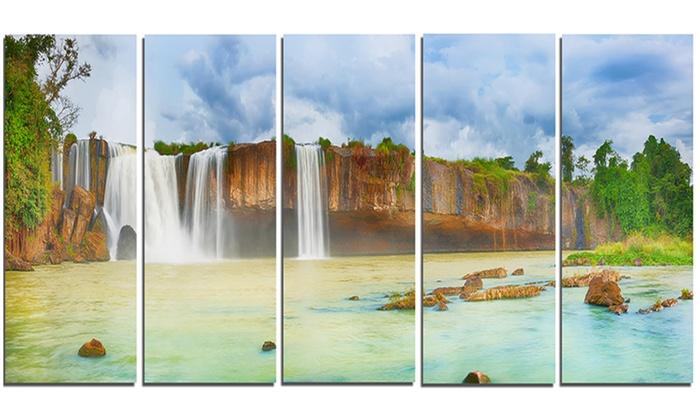 Dry Nur Waterfall Panorama Photography Metal Wall Art 60x28 5 Panels ...