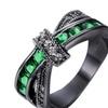 Green Stone White & Black GoldColor Cross Ring For Women