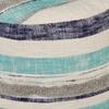 """LR Home New Slub Stripe Blue Cotton Pouf Ottoman (18"""" x 14"""")"""
