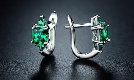 CYBER MONDAY RF 3.00 CTTW Princess Cut Emerald Hoop Earrings by SEVIL