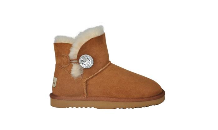 Smilove Women's Shiny Button Sheepskin Mini Bling Boot