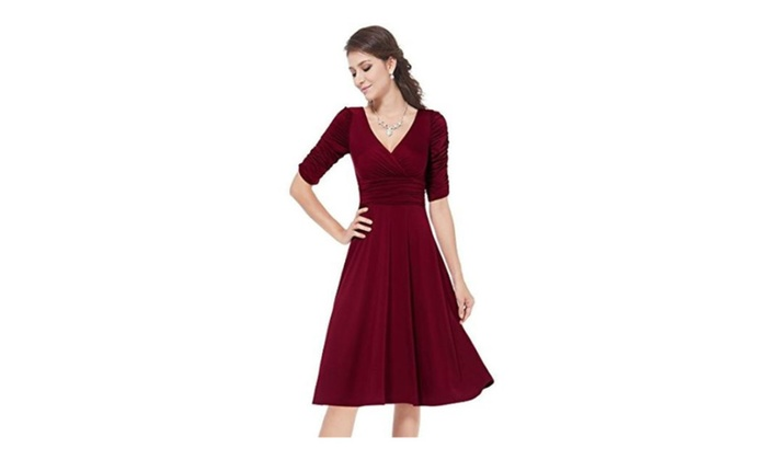Women Dresses V-neck Half Sleeve Loose Casual Summer Wine Red