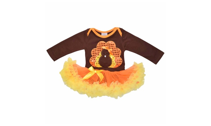 a78422e36 Girls Sequins Thanksgiving Turkey Romper with Tutu | Groupon