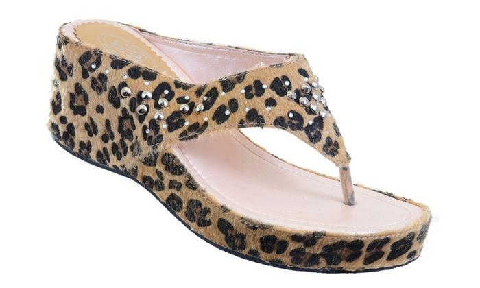 Leopard Rhinestone Bling Leopard Wedge Sandal Fourever Funky