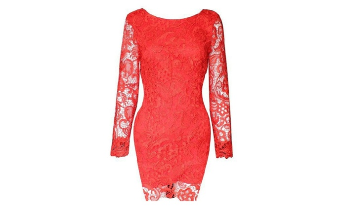Womens Lace Stiched Bodycon Long Sleeves Dress - TCWD164