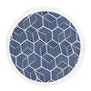 Honeycomb Fringed Beach Blanket - Blue & White
