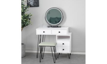 Bedroom iron dresser solid wood makeup desk storage cabinet white