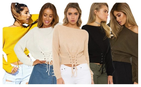 Women's Long Sleeve Pullover Lace Up Knit Sweater Bandage Top b5bbf975-882c-4ca3-b642-a35331cd2c68