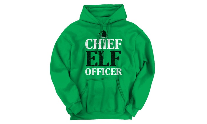 Funny Christmas Hooded Sweatshirt Chief Elf Officer Santa Hat