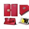 Insten Flip Leather Glitter Case For Motorola Moto E 2nd Gen Red/gold