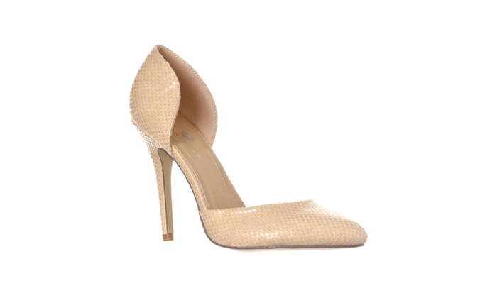 Riverberry 'Nora' Pointed Toe D'Orsay Pump Heels, Beige Snake