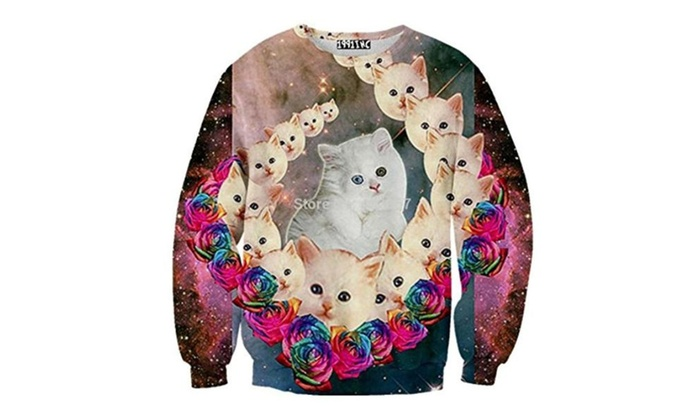 Sweaters 3D Print Cosmic Cats Gradation Cats Fat Galaxy Sweatshirts