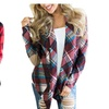 Women's Plaid Print Long Sleeve Elbow Patch Open Front Cardigan Sweate