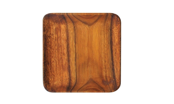 Pacific Merchants Acacia Wood Square Plate, 7