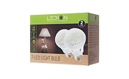 Super Bright Energy Efficient Warm White 7 LED Light Bulb- 2 Pack