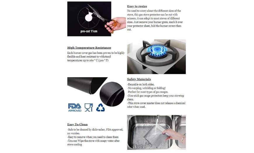 Gas Range Stove Top Burner Protector Reusable Liner Clean Non-stick Cover 4 Pcs