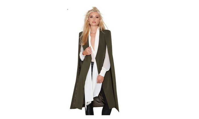 Women Open Stitch Cloak Trench Coats Coat