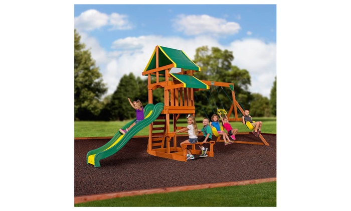 Backyard Discovery Tucson Cedar Wooden Swing Set backyard discovery tucson all cedar wood playset swing set | groupon