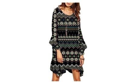 Women Bohemian Floral Long Sleeve Short T Shirt Dress Beach Dress 64078711-5250-4721-a13a-f25221c55728