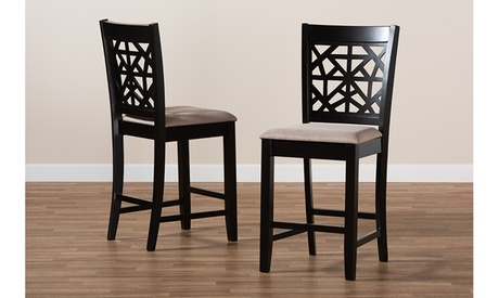 Devon Fabric and Espresso Brown Wood 2-Piece Counter Height Pub Chair Set