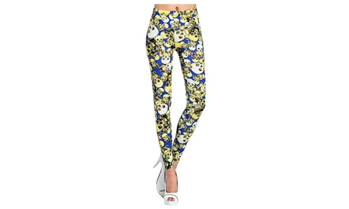 FunLeggings Contrast Skull Pattern Allover Legging - Blue/Yellow / One Size