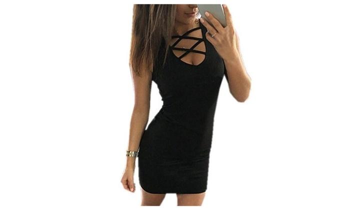Women's V-neck Sleeveless Bandage Dress