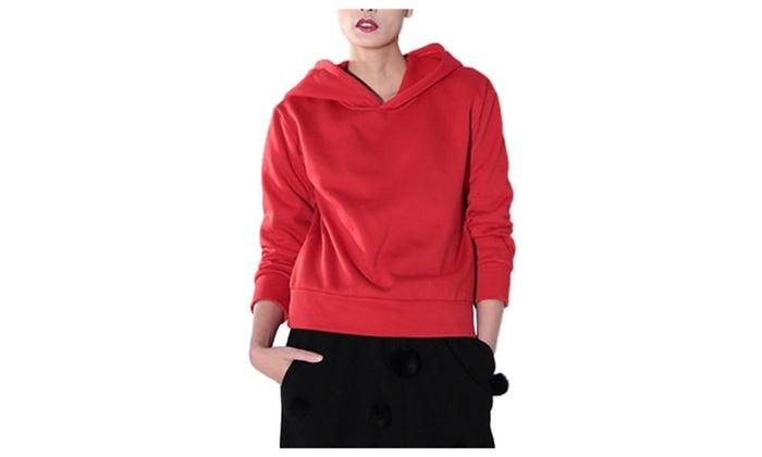 Women's/Ladies Casual Long Sleeve Simple Slim Fit Pullover Hoodies
