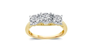 1 CTTW Diamond Three Stone Engagement Ring in 10K Yellow Gold By DeCarat