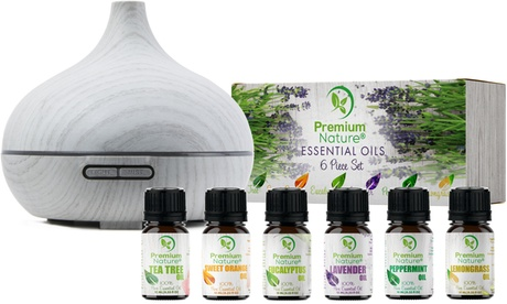 Premium Nature Aromatherapy Diffuser and Essential Oils Gift Set (7-Piece)