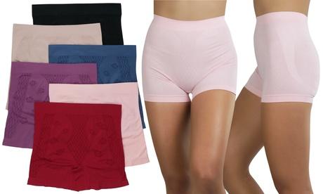 Women's 6 Pack Control Shaping Booty Shorts Boyshorts Seamless Underwear