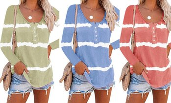 Women's Tie-Dyed Pullover Printed Button Long-Sleeved T-shirt Tunic