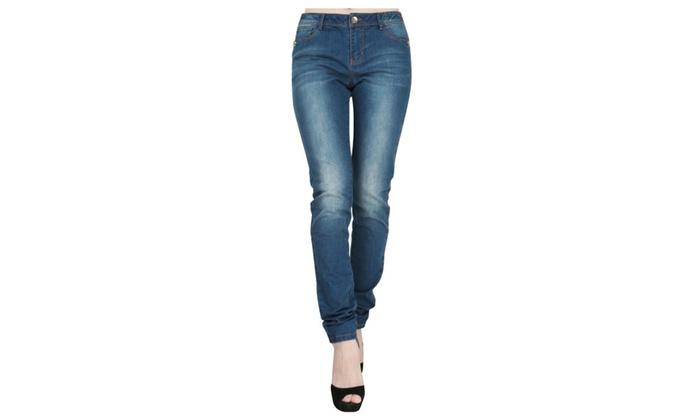 JNTworld Women Mid-Rise Pants Skinny Denim Jeans Trousers