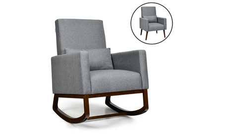 Costway 2-in-1 Upholstered Rocking Chair Nursery Armchair with Pillow Dark Grey