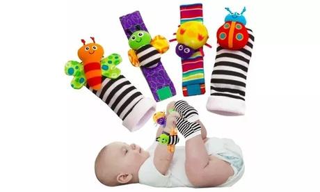 4Pcs/Set Cute Animal Soft Baby Socks Toys Wrist Rattles