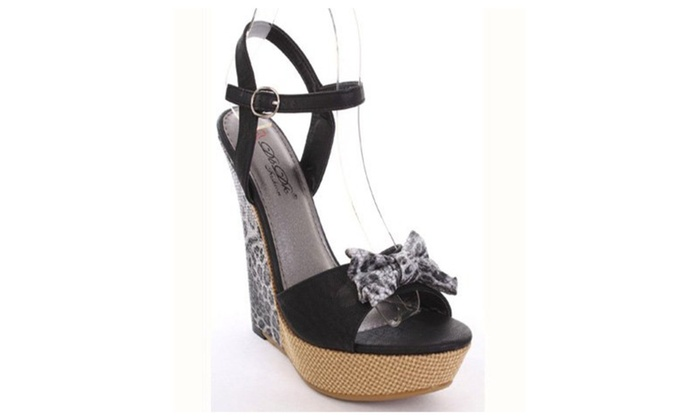 Paka-5 Black Faux Leather Leopard Print Bow Accent Wedges