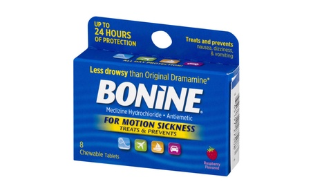Bonine Motion Sickness Chewable Tablets, Raspberry, 8 Ct