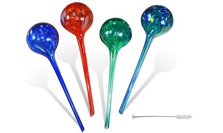 4pc Large Aqua Plant Glass Watering Globes - Watering Plant Ball Bulbs